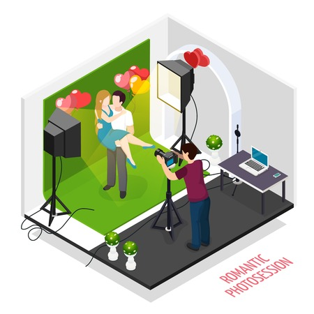 Dating couple photography isometric composition with romantic engagement poses professional photo shoots in studio vector illustration