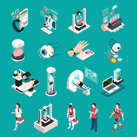 Modern medical technology isometric icons set with organs 3d printing transplantation nanorobots electronic devices isolated vector illustration Illustration