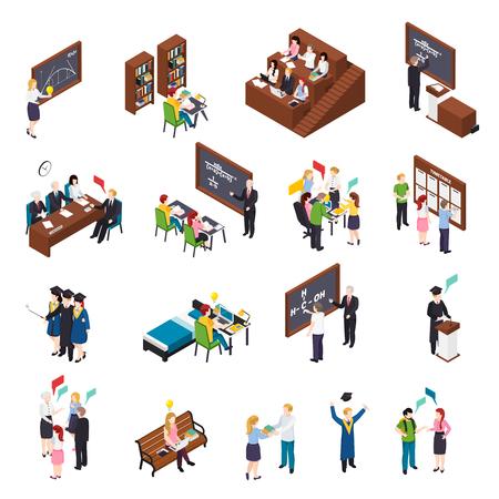 Los estudiantes universitarios que asisten a talleres de conferencias ocupados con proyectos en la biblioteca que se gradúan iconos isométricos establecen una ilustración vectorial aislada