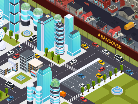 Urban empty and abandoned buildings isomeric composition with deserted city towers and neglected suburb surroundings vector illustration