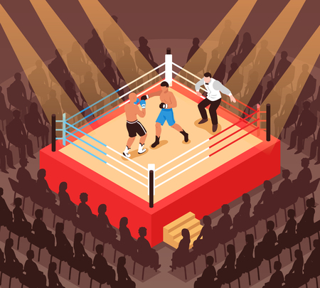 Referee and fighters during boxing match on ring and silhouettes of spectators isometric vector illustration Illustration