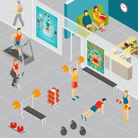 Composition isométrique de remise en forme avec vue intérieure des turnhalls de la zone de gymnastique avec des personnages humains des personnes présentes vector illustration
