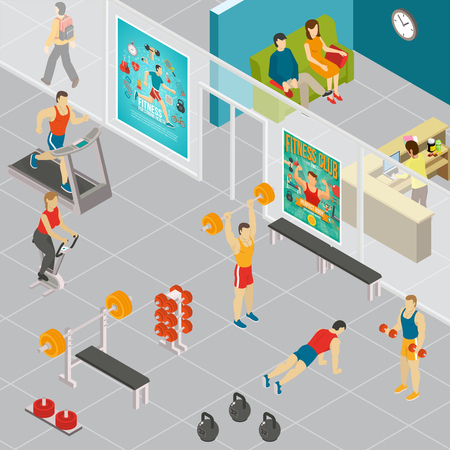 Fitness isometric composition with indoor view of gymnastic area turnhalls with human characters of attending people vector illustration