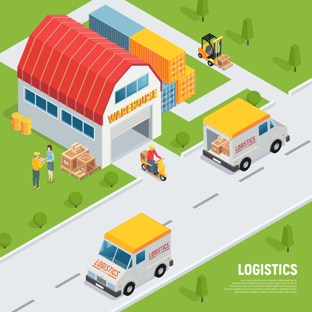 Warehouse logistics shipping receiving goods equipment isometric composition with delivery vehicles storage containers forklift truck vector illustration