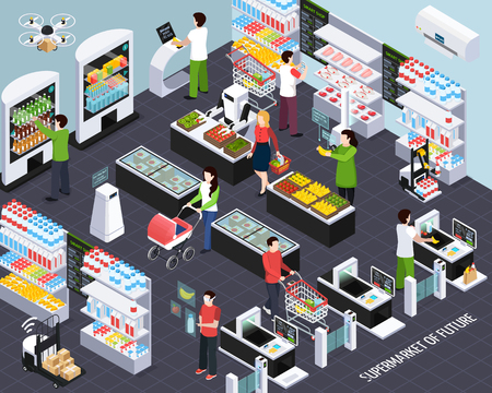 Supermarket of future isometric composition with smart shelf technologies and shopping baskets scanning purchased items vector illustration