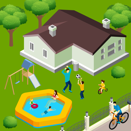 Family house exterior isometric view with backyard trees swimming pool playground and children playing ball vector illustration Illustration