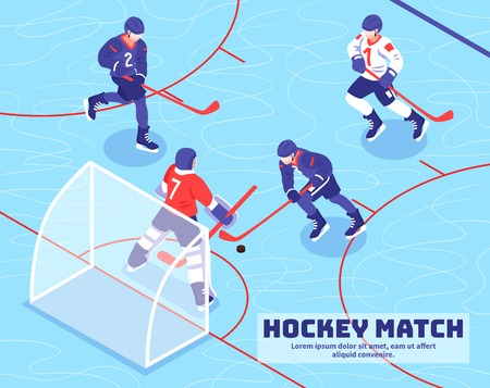 Teams of players near goal with puck during hockey match on ice isometric vector illustration