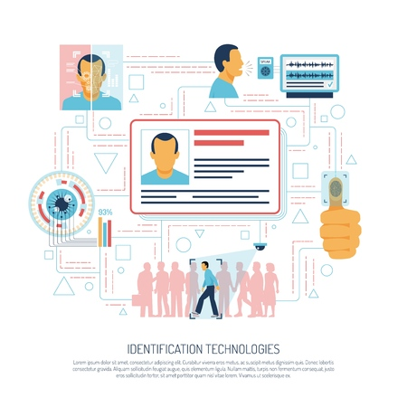 Identification technologies composition of flat images pictograms human faces and electronic circuitry symbols with editable text vector illustration Banque d'images - 103505664