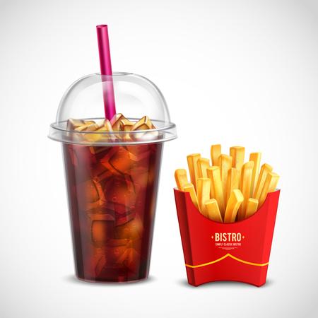 Composición realista de comida rápida con caja de papel de papas fritas y vaso de plástico de cola con tubo de piezas de hielo y tapa ilustración vectorial