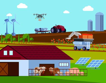 Slimme landbouw orthogonale vlakke samenstelling met geautomatiseerde landbouwvoertuigen, groene energie, vee met radiosignaal vectorillustratie