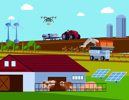 Smart farming orthogonal flat composition with automated agricultural vehicles, green energy, cattle with radio signal vector illustration