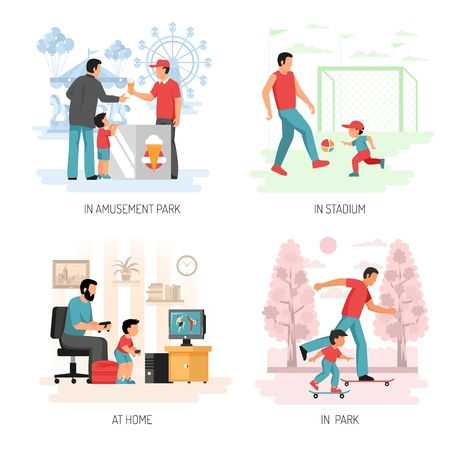Parenting child raising concept 4 flat compositions with playing football computer games outdoor activities with dad vector illustration