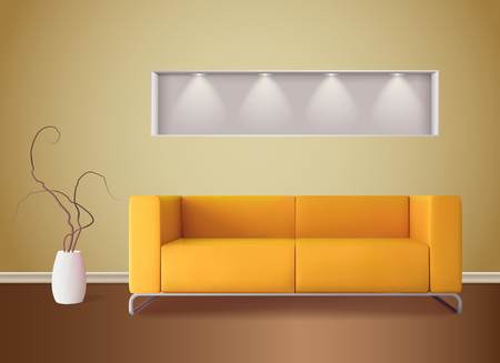 Modern living room interior with bright corn color sofa and soft shades yellow wall  realistic vector illustration
