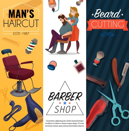 Barber shop vertical cartoon banners, mens coiffures, master and customer, work tools, beard cutting, isolated vector illustration