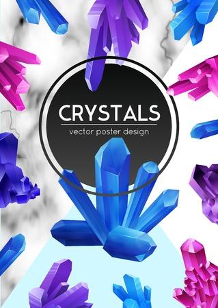 Helder violet paars blauwe kristallen op natuurlijke geaderde lichte marmeren achtergrond poster ronde frame realistische vectorillustratie