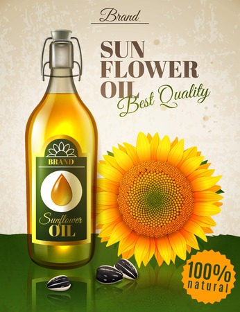 Realistic sunflower oil, natural product in glass bottle with label, flower and seeds ad poster vector illustration Archivio Fotografico - 103505738