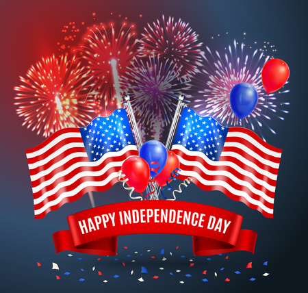 Happy independence day festive card with national flags of usa balloons and fireworks realistic vector illustration