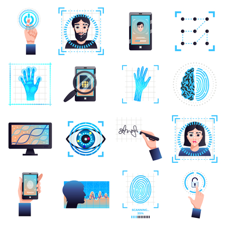 Identification technologies symbols collection with signature eye iris facial recognition biometric systems isolated white background vector illustration Illustration