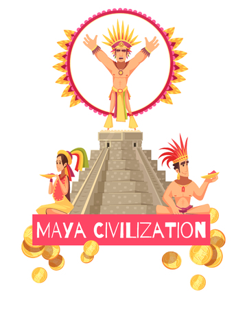 Maya civilization people and ancient teotihuacan pyramid on white background cartoon vector illustration Ilustração