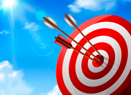 Realistic white red target with arrows composition on blue sky background with sunny rays vector illustration Stock Illustratie