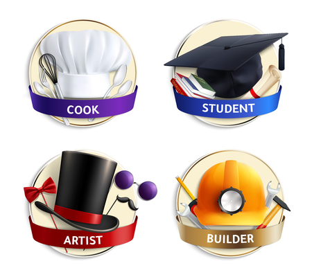 Set of realistic emblems with hats of different professions cook, student, artist and builder isolated vector illustration