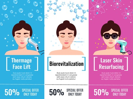 Cosmetology rejuvenation treatment discount offers 3 flat horizontal advertising banners with thermal face lift isolated vector illustration