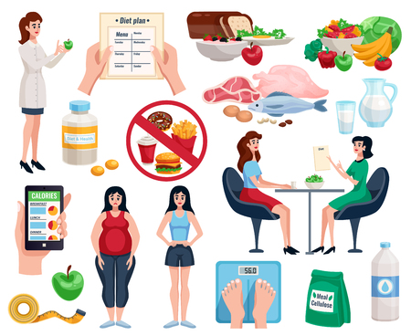 Diet decorative icons set with basic nutrition for good health and useful dishes for lose weight isolated vector illustration