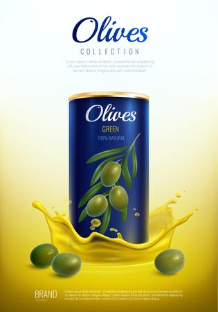 Realistic canned olives, metal packaging in yellow splashes  advertising composition on gradient background vector illustration