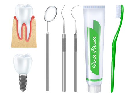 Realistic dental set of toothbrush toothpaste tube denture on implant base and medical tools for teeth treatment vector illustration
