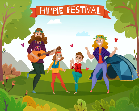 Family couple with kids during dance at hippie festival on nature background cartoon vector illustration