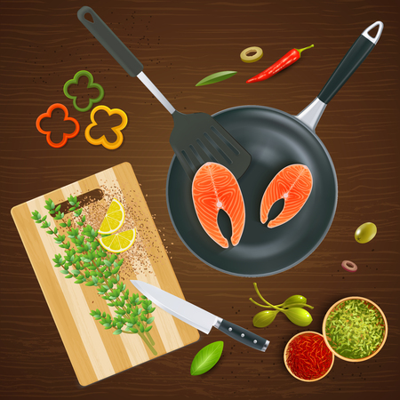 Realistic kitchen ware top view with salmon spices and vegetables on wooden texture background vector illustration