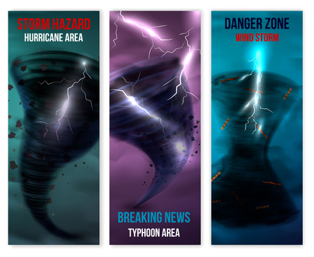 Storm hurricane tornado realistic banners collection of three vertical backgrounds with images of lightning and swirl vector illustration