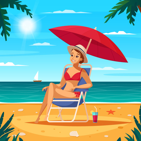 Travel agency cartoon poster with girl in swimsuit sitting in sun lounger under red umbrella at ocean background vector illustration