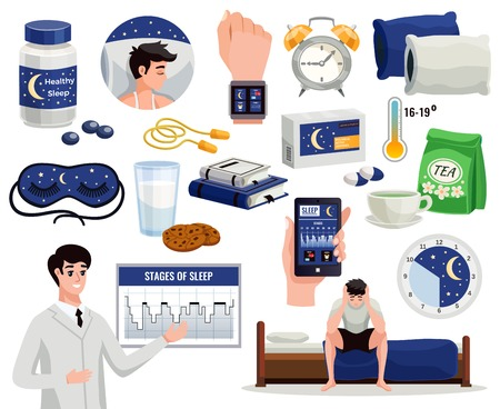 Healthy sleep decorative icons set of alarm night mask doctor showing graph of sleep stages isolated vector illustration Ilustracja