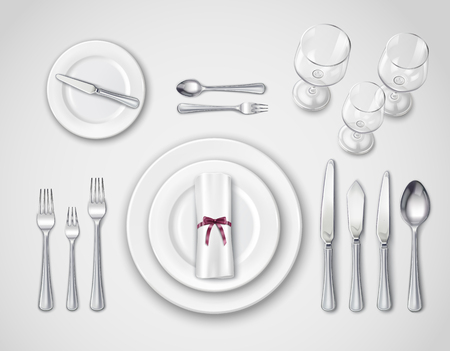 Table setting realistic top view with modern cutlery set serving for one person 3d vector illustration
