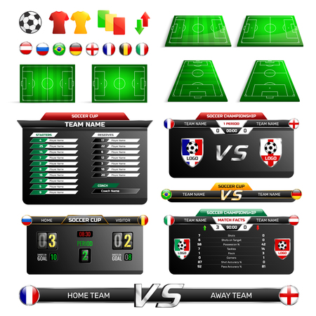 Sport program broadcast elements with soccer fields, uniforms icons, information boards, country flags.