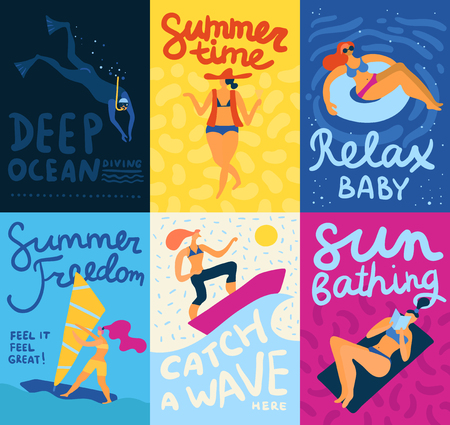 Sea activities cards set with diving and sunbathing symbols flat isolated vector illustration