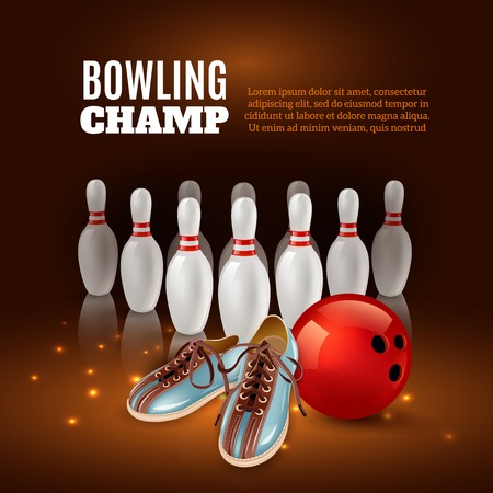 Bowling champ 3d composition from pins, red ball and shoes on dark background with sparks vector illustration