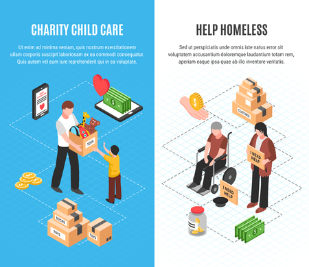 Charity two vertical banners with child care and help homeless isometric concepts vector illustration