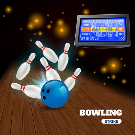 Bowling strike 3d composition with hitting blue ball on pins and results on score board vector illustration
