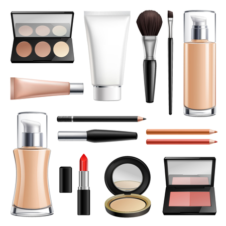 Cosmetics packages and makeup tools for maquillage and face skin care realistic set isolated vector illustration Illustration