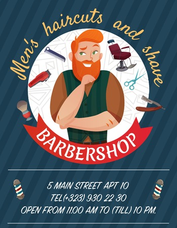 Barber shop cartoon advertising poster on dark background with master and work tools vector illustration