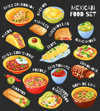 Traditional mexican food menu items set with tacos burritos chili con carne guacamole chalkboard background vector illustration Illusztráció
