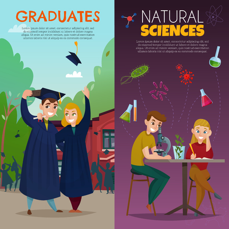 Set of vertical cartoon banners school students learning natural sciences and graduates isolated vector illustration