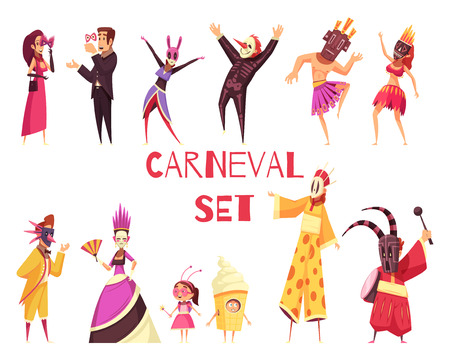 Cartoon set of male and female people wearing colorful carnival party costumes isolated on white background vector illustration Çizim