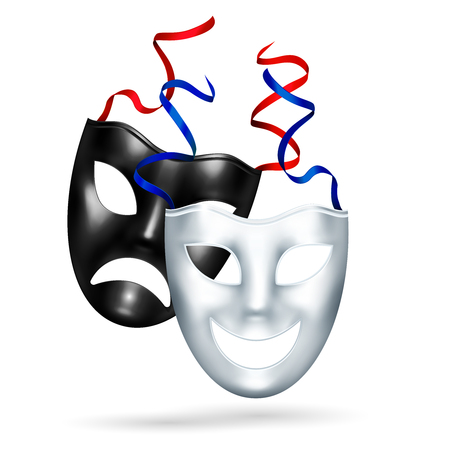 Comedy tragedy masks theatre realistic composition of black and white masks for classic art play actors vector illustration