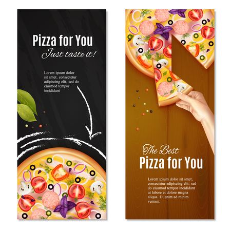 Realistic pizza with sausage and vegetables on chalk board and wooden background vertical banners isolated vector illustration  イラスト・ベクター素材