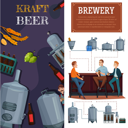 Beer production vertical cartoon banners, industrial equipment, brewing ingredients, men with ale in pub isolated vector illustration Illustration