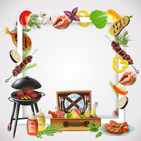 Realistic frame with grill different bbq dishes vegetables and drinks for picnic vector illustration