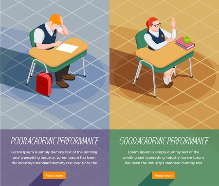 Set of two vertical high school isometric people banners with compositions of non-achiever and forward students vector illustration
